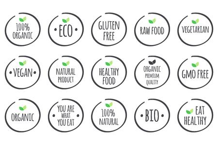 símbolos grises con las hojas verdes en blanco. 100% orgánico, ecológico, libre de gluten, alimentos crudos, vegetariano, vegano, producto natural, alimentos saludables, de primera calidad, libre de OMG, usted es lo que come, Bio, a comer sano. Ilustración de vector