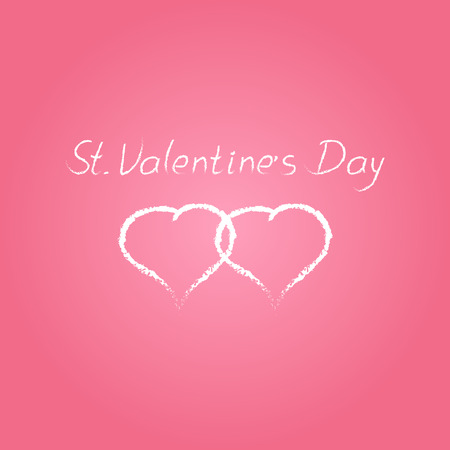 devotion: hand drawn  St. Valentines Day sketch with two white hearts  isolated on pink background
