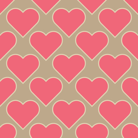 honey moon: pink hearts isolated on light brown background seamless texture Stock Photo