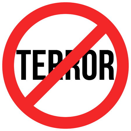terror: stop terror red and black circle sign isolated