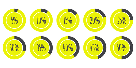 30 to 35: Infographics 5%, 10%, 15%, 20%, 25%, 30%, 35%, 40%, 45%, 50% yellow and grey Pie Charts isolated on white