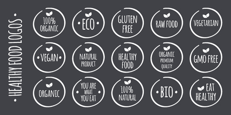 what to eat: white food on grey. 100% Organic, Eco, Gluten, GMO Free, Raw, Bio, Vegetarian, Vegan, Natural Product, Premium Quality, You are what you eat,  Eat Healthy symbols Illustration