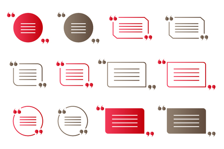 citation: Set of red and brown gradient quotation marks, isolated citation symbols on white Illustration
