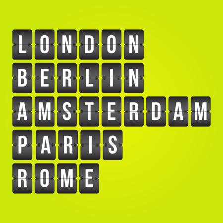 indicator board: Scoreboard. London, Berlin, Amsterdam, Paris, Rome capital cities, flip symbols isolated on yellow green background