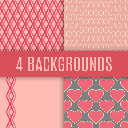 checked: backgrounds. Checked, hexagonal, heart and lines textures.