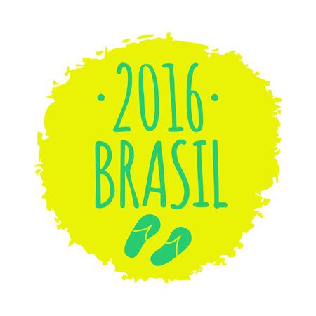 Summer 2016 Brazil circle yellow and green vector