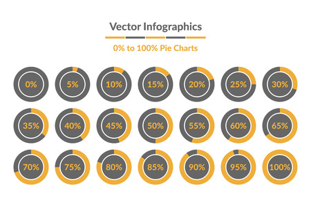 Vector Infographics. 0% to 100% Pie Charts, grey and yellow isolated circle diagrams.