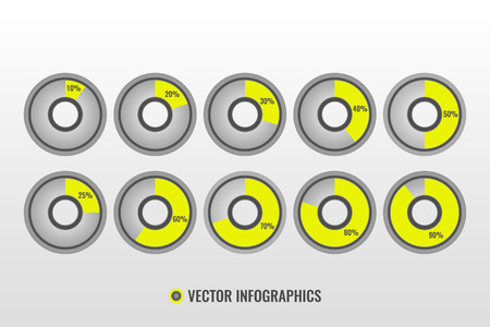 Infographic vector, pie charts isolated