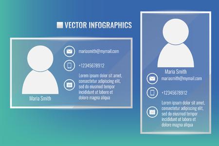 vector de infografía, tarjeta de identificación con el símbolo de hombre y datos personales
