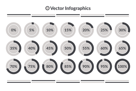 75 80: Vector Infographics. 0 to 100 percent  pie charts, grey isolated circle diagrams. Illustration