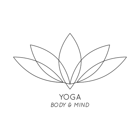 mind body soul: Yoga Body and Mind, isolated Lotus vector logo