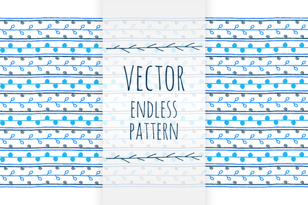 endless: Hand drawn blue ethnic endless vector pattern