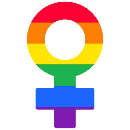 lesbian: Lesbian woman rainbow isolated symbol