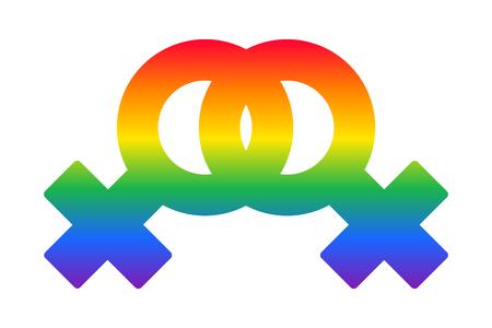 feminist: Lesbian couple rainbow symbol LGBT flag