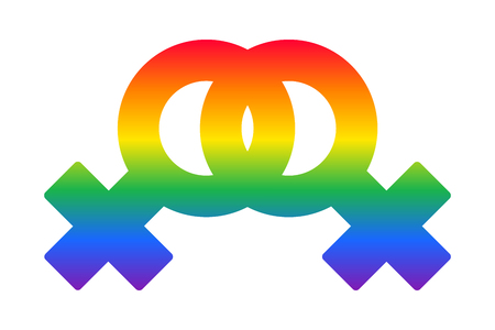Lesbian couple rainbow symbol LGBT flag