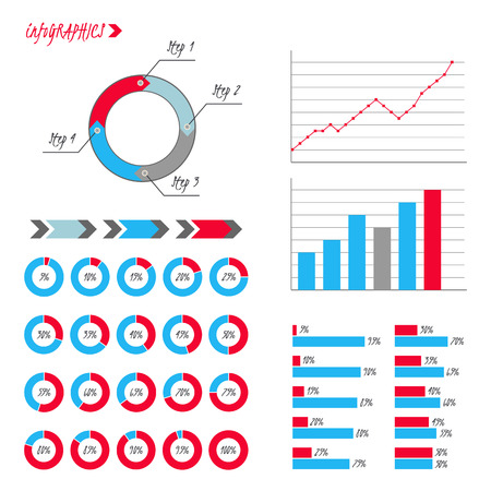 85 90: Infographics. Pie, graph, line charts, arrows, steps, 5 to 100 percent circle diagrams. Illustration
