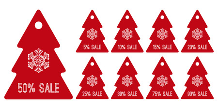 winter sale shopping tag symbols, red christmas trees