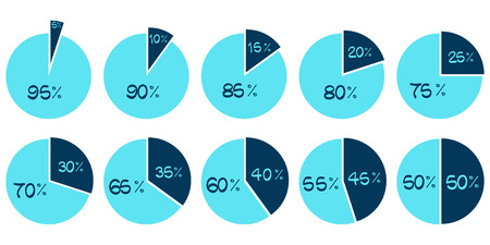 80 85: Vector Infographics. 5 10 15 20 25 30 35 40 45 50 55 60 65 70 75 80 85 90 95 percent blue pie charts isolated on white background