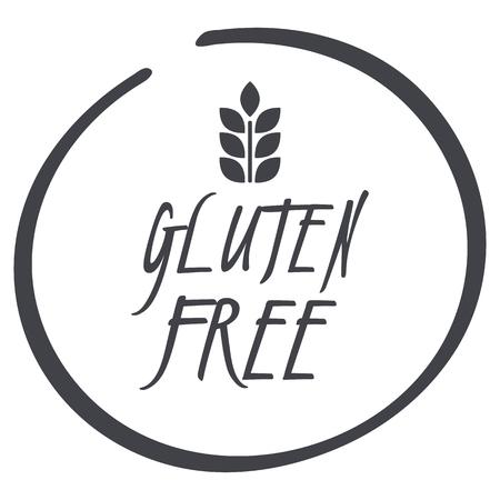 Logotipo sin gluten para comida, símbolo circular