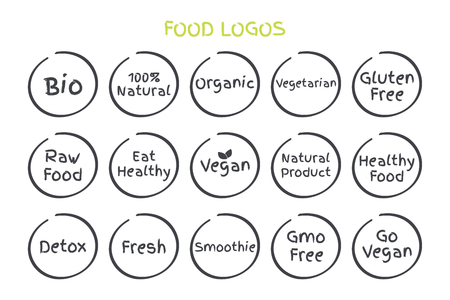 Set of Healthy Food Symbols 일러스트