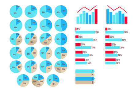 75 80: Infographics 5 to 95 percent charts, aroows, growth and fall graphics isolated