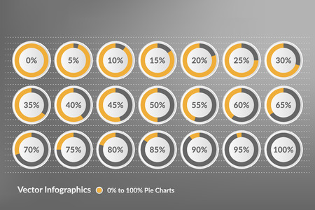 85 90: Percentage vector infographics. Zero to hundred percent yellow and grey pie charts. Illustration