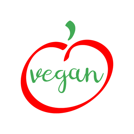 Vegan red and green logo. Isolated healthy food vector icon