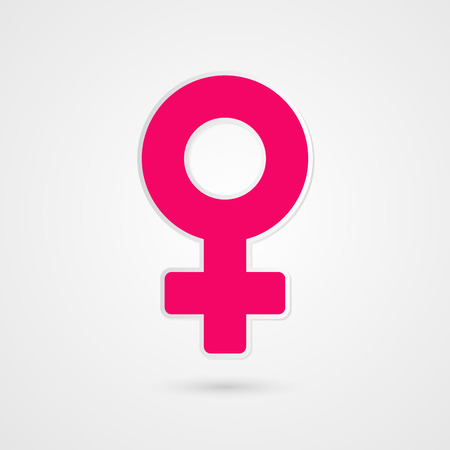 Woman symbol. Female sign illustration. Pink vector icon isolated on grey gradient