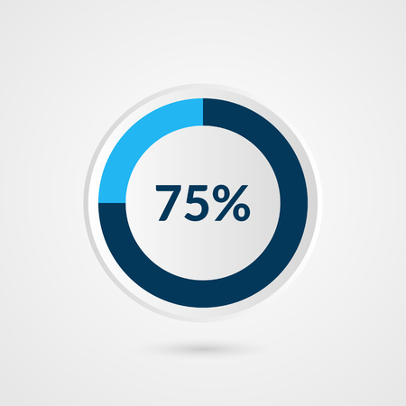75 percent blue grey and white pie chart. Percentage vector infographics. Circle diagram business illustration 일러스트