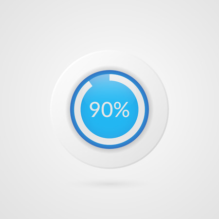 90 percent blue white pie chart. Percentage vector infographics. Ninety Circle diagram isolated symbol on gradient background. Business illustration icon for marketing presentation, project, data report, information, plan, web design