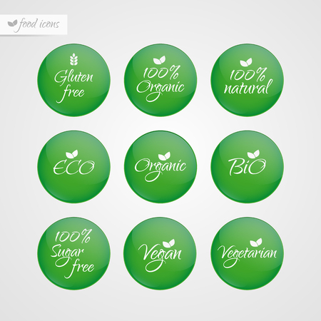 Organic Gluten Sugar free Eco Bio Vegan Vegetarian Eco Bio Natural label. Food logo icons. Vector green and white sticker signs isolated. Illustration symbol for product, packaging, healthy eating