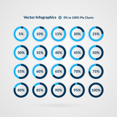 Percentage vector infographics. 5 10 15 20 25 30 35 40 45 50 55 60 65 70 75 80 85 90 95 100 percent pie chart symbols. Circle diagrams isolated. Illustration for business, marketing project, web design