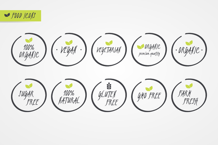 100% Organic Natural Gluten Sugar GMO Free Vegan Vegetarian Farm Fresh label. Food logo icons. Vector green and white circle signs isolated. Illustration symbol for product, packaging, healthy eating