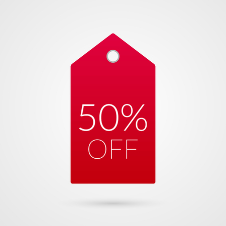 50 percent off shopping tag vector icon. Red and white isolated discount symbol. Illustration sign for sale, advertisement, marketing project, business, retail, wholesale, shop, commerce, finance Illustration