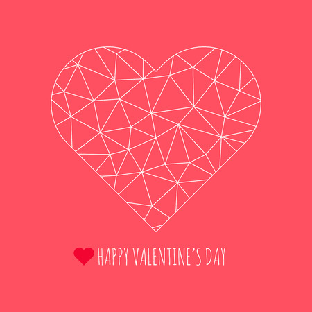 Happy Valentines Day congratulation card. Vector polygonal heart symbol. Abstract triangle illustration for decoration, design