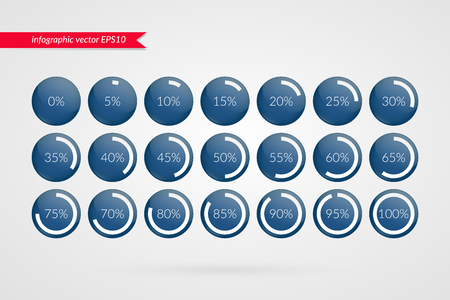 0 5 10 15 20 25 30 35 40 45 50 55 60 65 70 75 80 85 90 95 100 percent pie chart symbols. Percentage vector infographics. Circle diagrams isolated icons. Illustration for business, web design Illustration