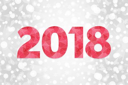 2018 Happy New Year abstract triangle illustration. Winter holiday vector symbol. Decorative red geometric icon. Christmas background with snowflakes, sparkles, lights, snow for decoration