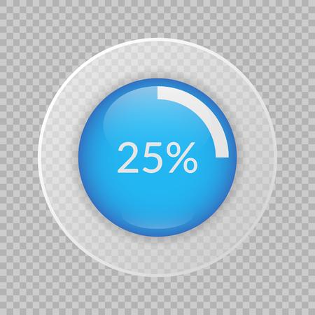 25 percent pie chart on transparent background. Percentage vector infographics. Circle diagram isolated. Business illustration icon for marketing presentation, project, data report, web, concept design Ilustração