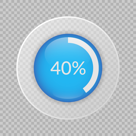 40 percent pie chart on transparent background. Percentage vector info-graphics. Circle diagram isolated. Business illustration icon for marketing project, finance, financial report, web design.