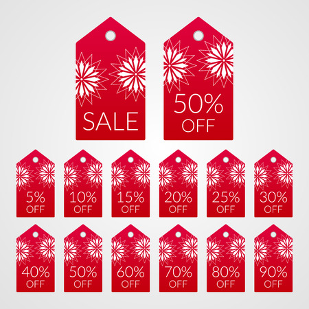5 10 15 20 25 30 40 50 60 70 80 90 percent off shopping tag vector icons. Isolated red ad white discount symbols for merchandise, store, shop illustration labels set for sale.