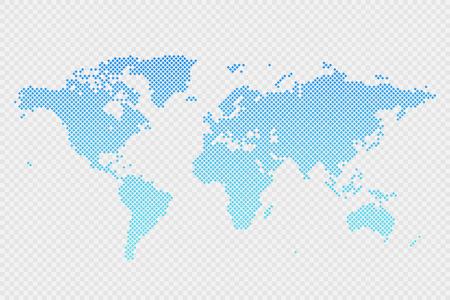 Vector world map infographic symbol on transparent background. International rhombus illustration sign. Blue gradient template element for business, project, sample, web, design, media, news, blog