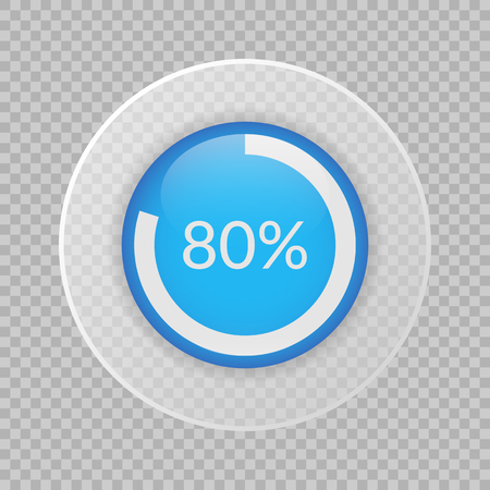 80 percent pie chart on transparent background. Percentage vector infographics.