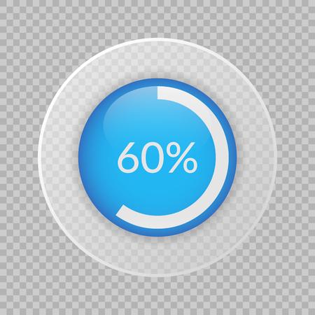 60 percent pie chart on transparent background. Percentage vector infographics. Circle diagram isolated. Business illustration icon for marketing project, finance, financial report, web design