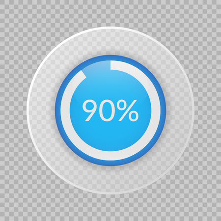 90 percent pie chart on transparent background. Percentage vector infographics. Circle diagram isolated. Business illustration icon for marketing project, finance, financial report, web design
