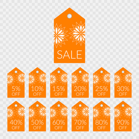 5 10 15 20 25 30 40 50 60 70 80 90 percent off shopping tag vector icons. Illustration labels set for sale isolated orange and white discount symbols for merchandise, store, shop, decoration, design.