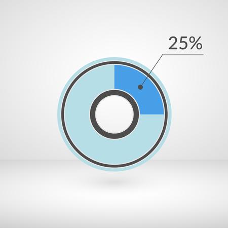 25 % 원형 차트 격리 된 기호입니다. 백분율 벡터 infographics. 원형 다이어그램 기호입니다.