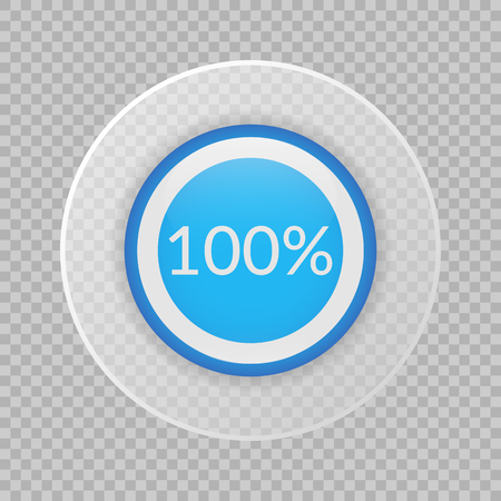 100 percent pie chart on transparent background. Ilustração
