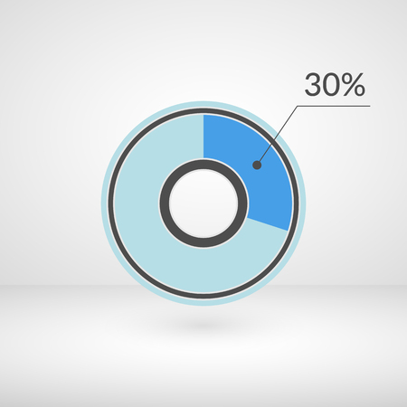 30 percent pie chart isolated symbol. Percentage vector infographics. Circle diagram sign. Business illustration icon for marketing project, finance, financial report, web, concept design, download Иллюстрация