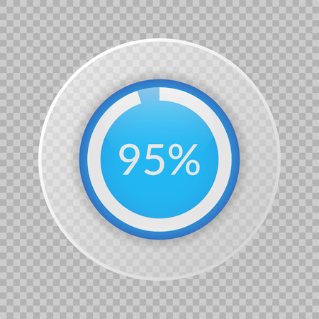 95 percent pie chart on transparent background. Percentage vector infographics. Circle diagram isolated. Business illustration icon for marketing project, finance, financial report, web design Vectores