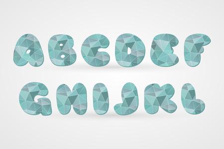 A B C D E F G H I L K L polygonal geometric letters. Decorative blue geometric alphabet isolated icons. Abstract triangle abc vector symbols for decoration, font, design, illustration, cartoon